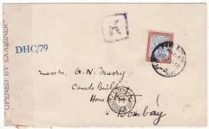SUDAN - INDIA..WW2 1942 SCARCER BOXED K CENSOR...