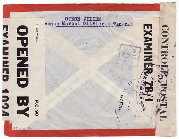 [18122]  MADAGASCAR - GB...WW2 TRIPLE CENSORED AIRMAIL STATIONARY...  1944 (Jan 5)