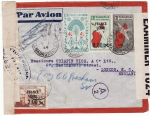 MADAGASCAR - GB...WW2 TRIPLE CENSORED AIRMAIL STATIONARY...