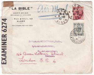 ALGERIA - MOROCCO...WW2  FORWARDED to GB….