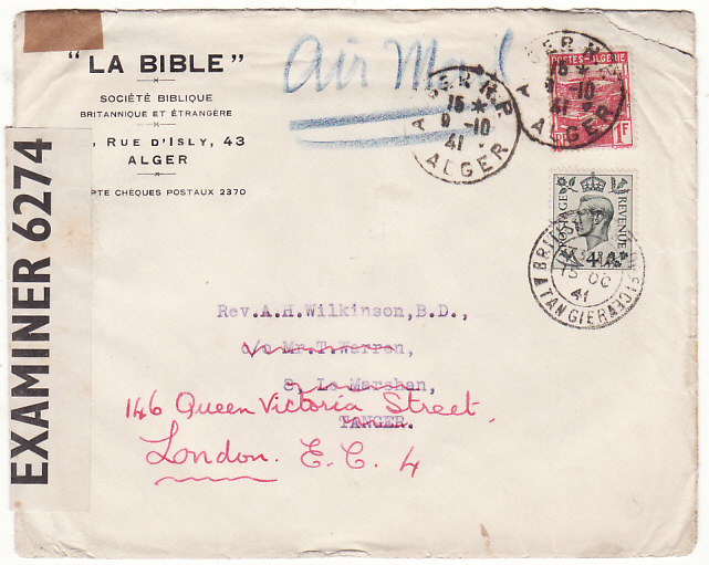 [18127]  ALGERIA - MOROCCO...WW2 FORWARDED to GB….  1941 (Oct 9)