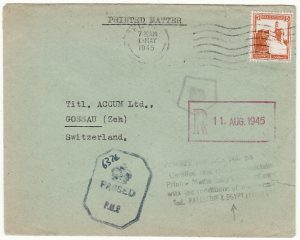PALESTINE - SWITZERLAND...WW2 CENSORED PRINTED MATTER PERMIT MAIL …