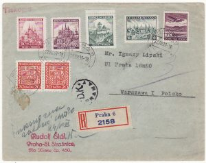 CZECHOSLOVAKIA - POLAND…1939 REGISTERED COMBINATION USE …