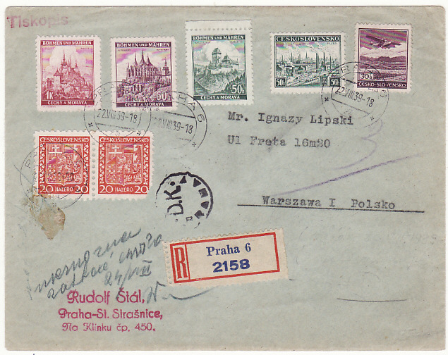 [18158]  CZECHOSLOVAKIA - POLAND…1939 REGISTERED COMBINATION USE …  1939 (Aug 22)