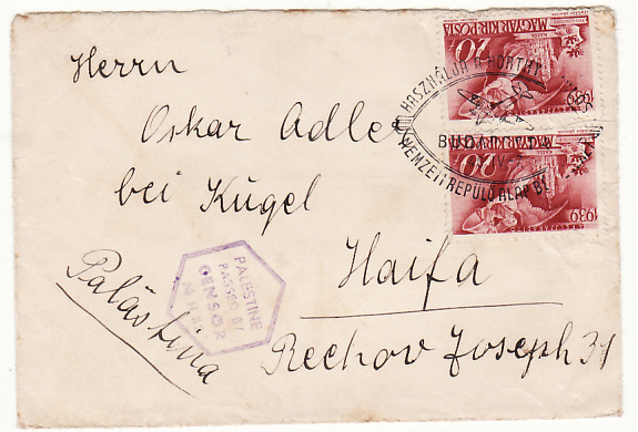HUNGARY - PALESTINE…1940 SPECIAL PICTORIAL AIRMAIL CANCEL …