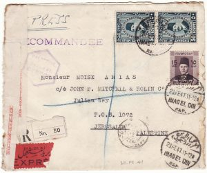 EGYPT - PALESTINE…1941 REGISTERED CENSORED EXPRESS …