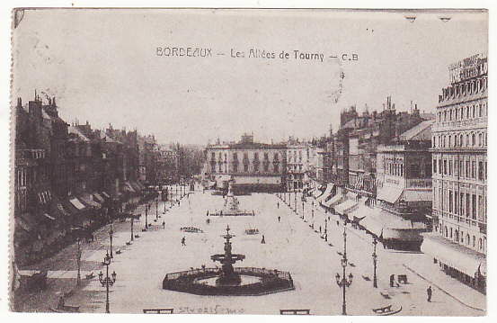 [18467]  FRANCE... 1918 FRENCH AIR FORCE on way to SIBERIA …  1918 Stampless picture post card showing Bordeaux - Les allees de Tourny to Lille cancelled partial Bordeaux (26 Nov)