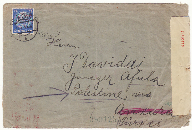 [18232]  AUSTRIA - PALESTINE…WW2L to AFFULA via ANKARA & DOUBLE CENSORED …  1941 (Sep 21)