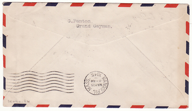 [18304]  CAYMAN ISLANDS - USA…WW2 CENSORED…  1945 (May 8)
