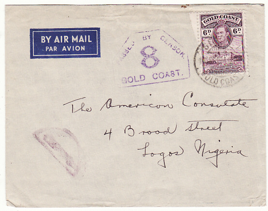 GOLD COAST - NIGERIA…WW2 DOUBLE CENSORED AIRMAIL…