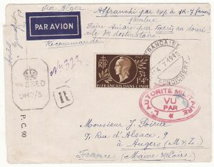 FRENCH INDIA - FRANCE…WW2 REGISTERED DOUBLE CENSORED AIRMAIL…