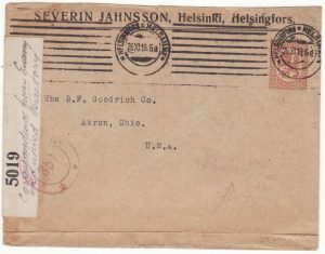 FINLAND - USA...WW1 TRIPLE CENSORED CORRESPONDENCE FROM ENEMY ...