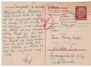 GERMANY....WW2 HINDENBURG REPLY CARD CENSORED from SWEDEN ..