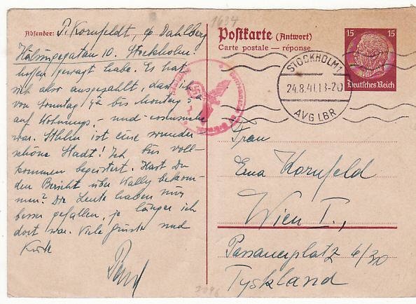 [18390]  GERMANY....WW2 HINDENBURG REPLY CARD CENSORED from SWEDEN ..   1941 (Aug 24)