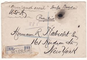 IRAQ - USA…REGISTERED OVERLAND MAIL…