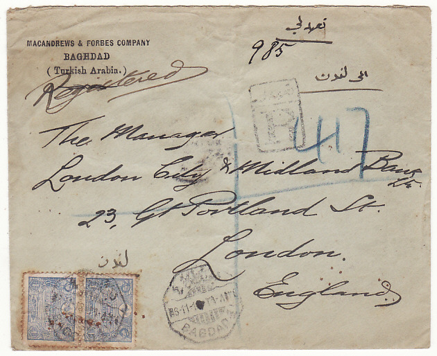 [18435]  IRAQ - GB…REGISTERED OTTOMAN EMPIRE MAIL…  1913 (Nov 6)
