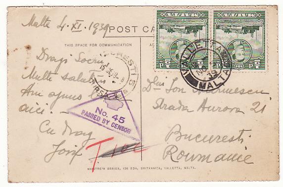 MALTA - ROUMANIA …WW2 CENSORED & TAXED POSTCARD…