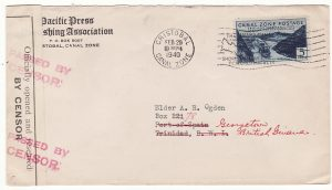 CANAL ZONE - TRINIDAD..1940 FORWARDED to BRITISH GUIANA & CENSORED…