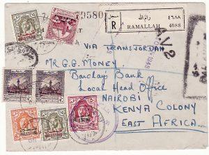 PALESTINE - KENYA…1949 TRANS-JORDAN OVERPRINTS REGISTERED CENSORED AV2 …