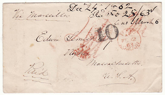 [18474]  HONG KONG - USA…TREATY RATE via MARSEILLES PRE PAID in CASH…  1862 (Dec 24)
