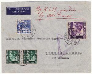 NED. EAST INDIES - ARGENTINA.... WW2 AIRMAIL CENSORED in SINGAPORE…