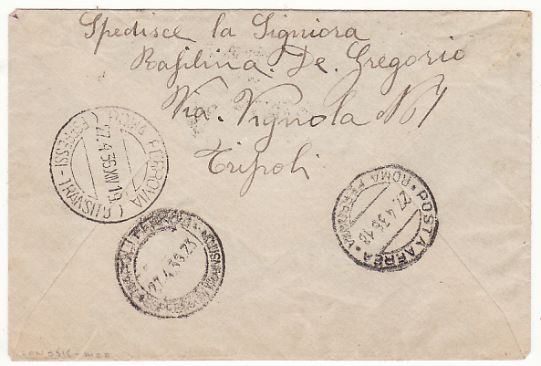 [18497]  LIBYA - ITALY…ITALIAN COLONIES EXPRESS AIRMAIL…  1936 (Apr 26)