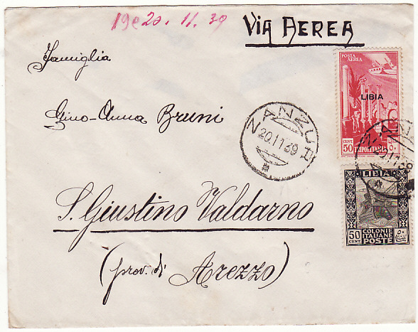 [18499]  LIBYA - ITALY…ITALIAN COLONIES AIRMAIL from MILITARY at ZANZUR…  1939 (Nov 20)