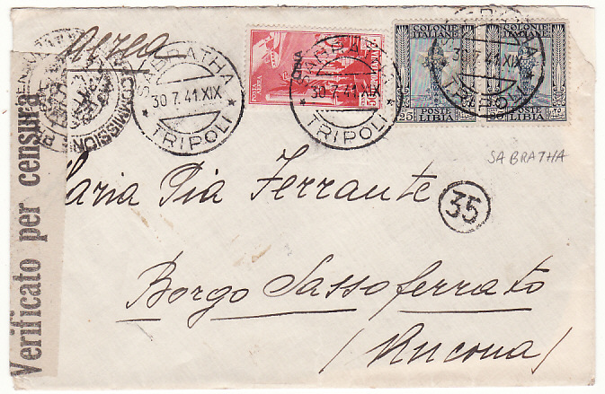 [18505]  LIBYA - ITALY…WW2 ITALIAN COLONIES MILITARY & CENSORED MAIL from SABRATHA…  1941 (Jul 30)