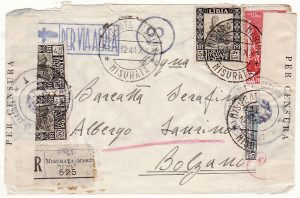 LIBYA - ITALY…WW2 REGISTERED CENSORED AIRMAIL from MISURATA MARINA…