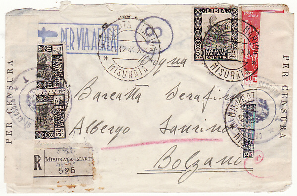 [18506]  LIBYA - ITALY…WW2 REGISTERED CENSORED AIRMAIL from MISURATA MARINA…  1941 (Dec 12)