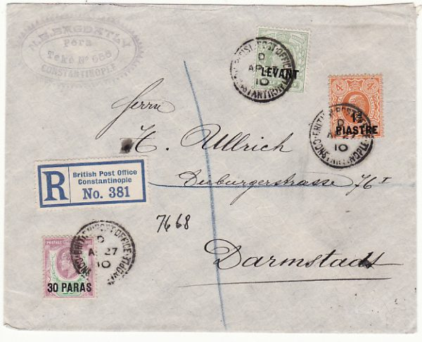 BRITISH LEVANT - GERMANY…1910 REGISTERED…