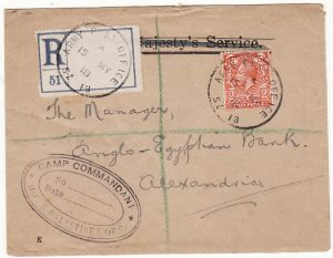 PALESTINE - EGYPT…WW1 REGISTERED CAMP COMMANDANT HCS PALESTINE L of C…