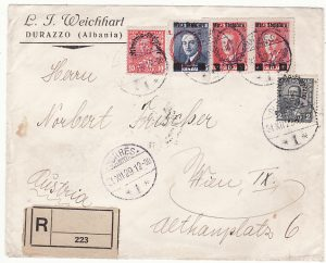 ALBANIA  - AUSTRIA…1929 REGISTERED via ITALIAN TPO…