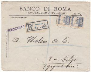 PALESTINE - YUGOSLAVIA…REGISTERED & via ITALIAN TPO …