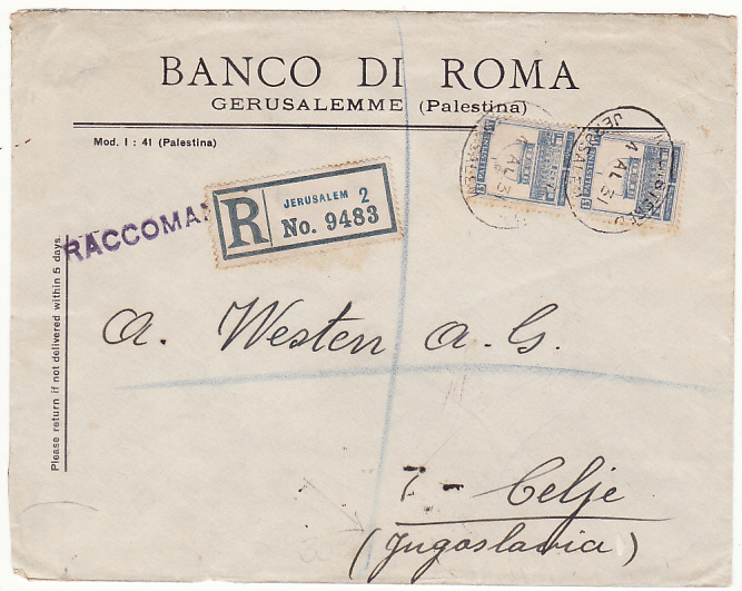 [18550]  PALESTINE - YUGOSLAVIA…REGISTERED & via ITALIAN TPO …  1931 (Aug 4)