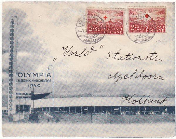 FINLAND - HOLLAND..1940 HELSINKI OLYMPIC GAMES  ...