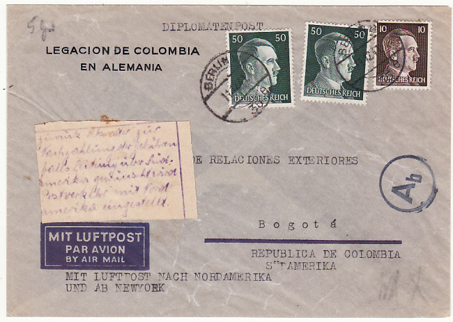 [18586]  GERMANY - COLOMBIA…WW2 RETURNED for RE-ROUTING VIA LATI…  1941 (Dec 11)