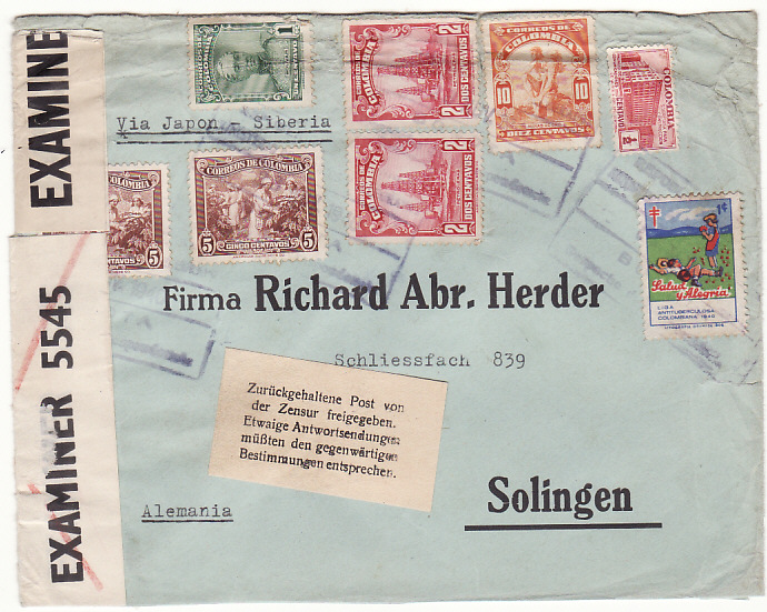 [18587]  COLOMBIA - GERMANY…WW2 INTERCEPTED by BRITISH & HELD for DURATION of WAR…  1940 (Nov 28)