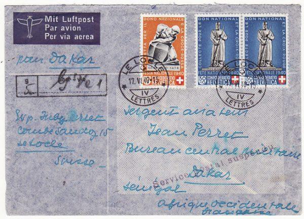 SWITZERLAND - SENEGAL…WW2 REGISTERED SERVICE SUSPENDED…