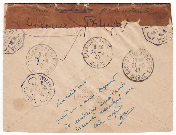 [18608]  MOROCCO - FRANCE…WW2 REGISTERED SERVICE SUSPENDED…  1940 (Jun 31)
