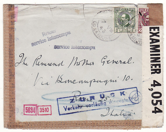 [18612]  IRELAND - ITALY…WW2 TRIPLE CENSORED SERVICE SUSPENDED…  1943 (Aug 7)