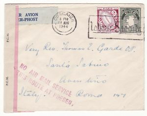 IRELAND - ITALY…WW2 DOUBLE CENSORED NO AIR MAIL SERVICE...