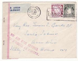 IRELAND - ITALY…WW2 DOUBLE CENSORED NO AIR MAIL SERVICE...
