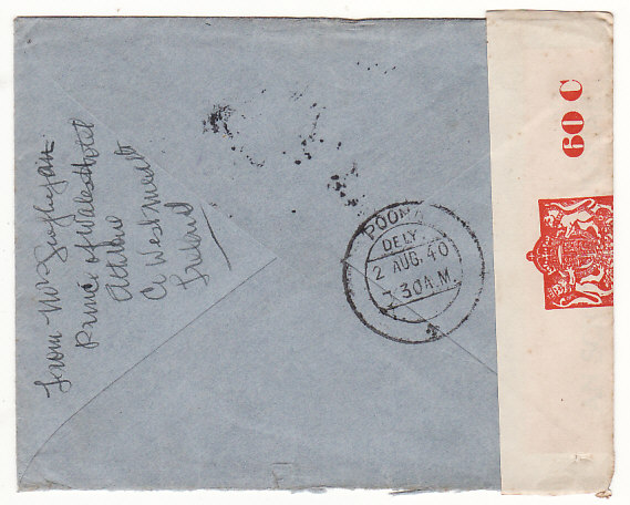 [18615]  IRELAND - INDIA…WW2 NO AIR MAIL SERVICE BY THIS ROUTE AT PRESENT…  1940 (Jun 12)