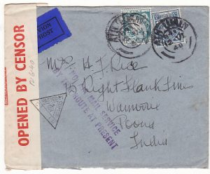 IRELAND - INDIA…WW2 NO AIR MAIL SERVICE BY THIS ROUTE AT PRESENT…