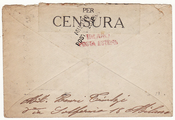 [18624]  ITALY - SWITZERLAND…WW1 SERVICE SUSPENDED…  1918 (May 16)