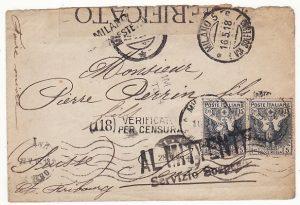 ITALY - SWITZERLAND…WW1 SERVICE SUSPENDED…