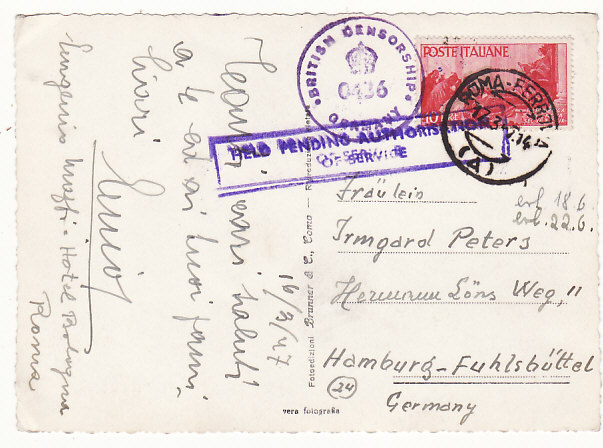 [18625]  ITALY - GERMANY ….1947 ALLIED OCCUPATION HELD PENDING AUTHORISATION of SERVICE..  1947 (Mar 16)