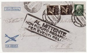 ITALY - ITALIAN SOMALILAND …WW2 RETURN TO SENDER UNABLE TO DELIVER.....