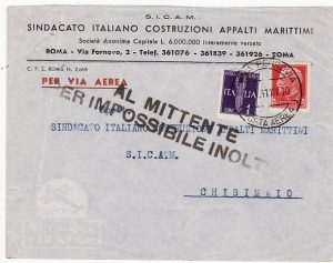 ITALY - ITALIAN SOMALILAND …WW2 RETURN TO SENDER IMPOSSIBLE TO DELIVER.....